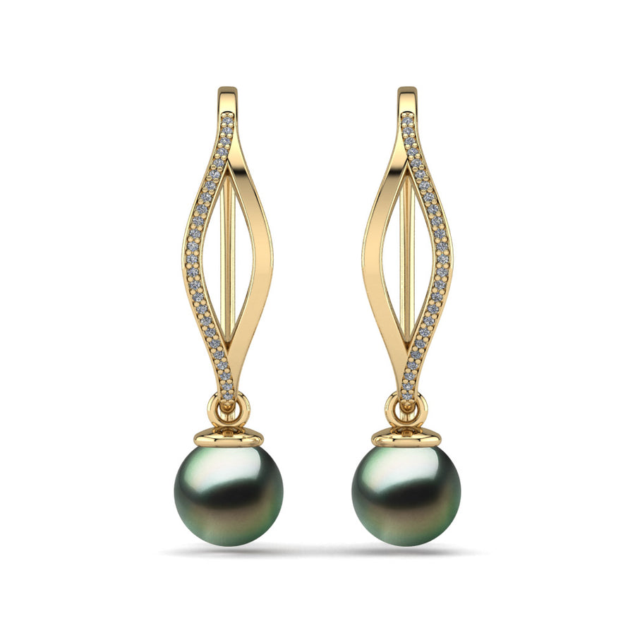 Diamond Blade Pearl Earrings-18K Yellow Gold-Tahitian-Green