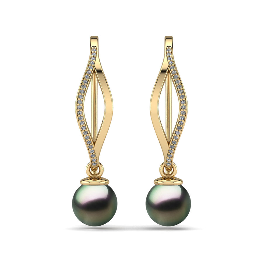 Diamond Blade Pearl Earrings-18K Yellow Gold-Tahitian-Peacock
