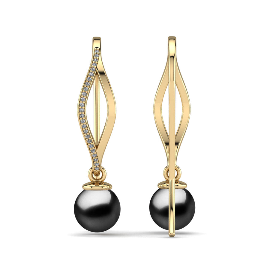 Diamond Blade Pearl Earrings-18K Yellow Gold-Tahitian-Black