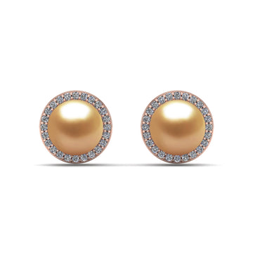 Halo Pearl Studs-18K Rose Gold-South Sea Golden-Deep Golden