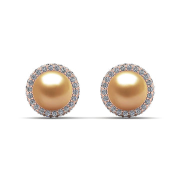 Echo Halo Pearl Earrings-18K Rose Gold-South Sea Golden-Deep Golden