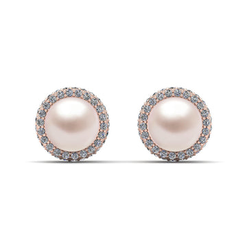 Echo Halo Pearl Earrings-18K Rose Gold-South Sea-South Sea Rose