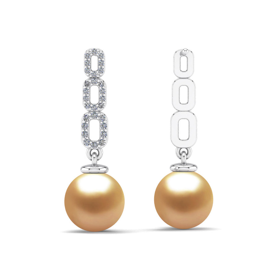 Link and Pearl Drop Earrings-Platinum-South Sea Golden-Deep Golden