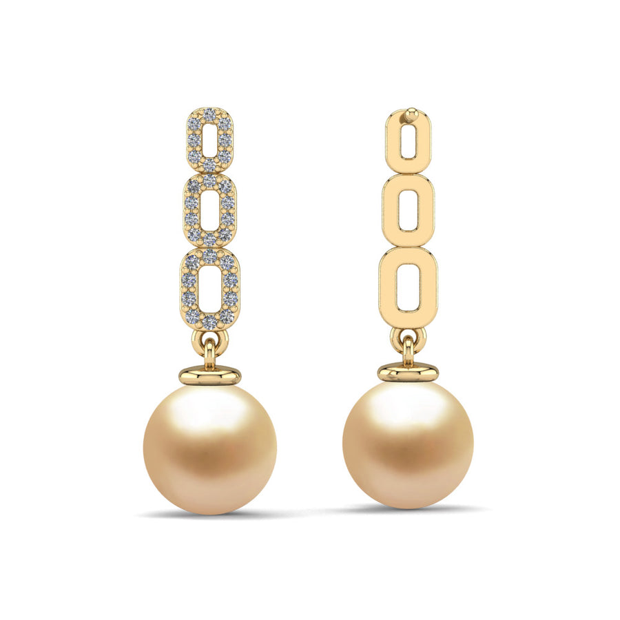 Link and Pearl Drop Earrings-18K Yellow Gold-South Sea Golden-Golden