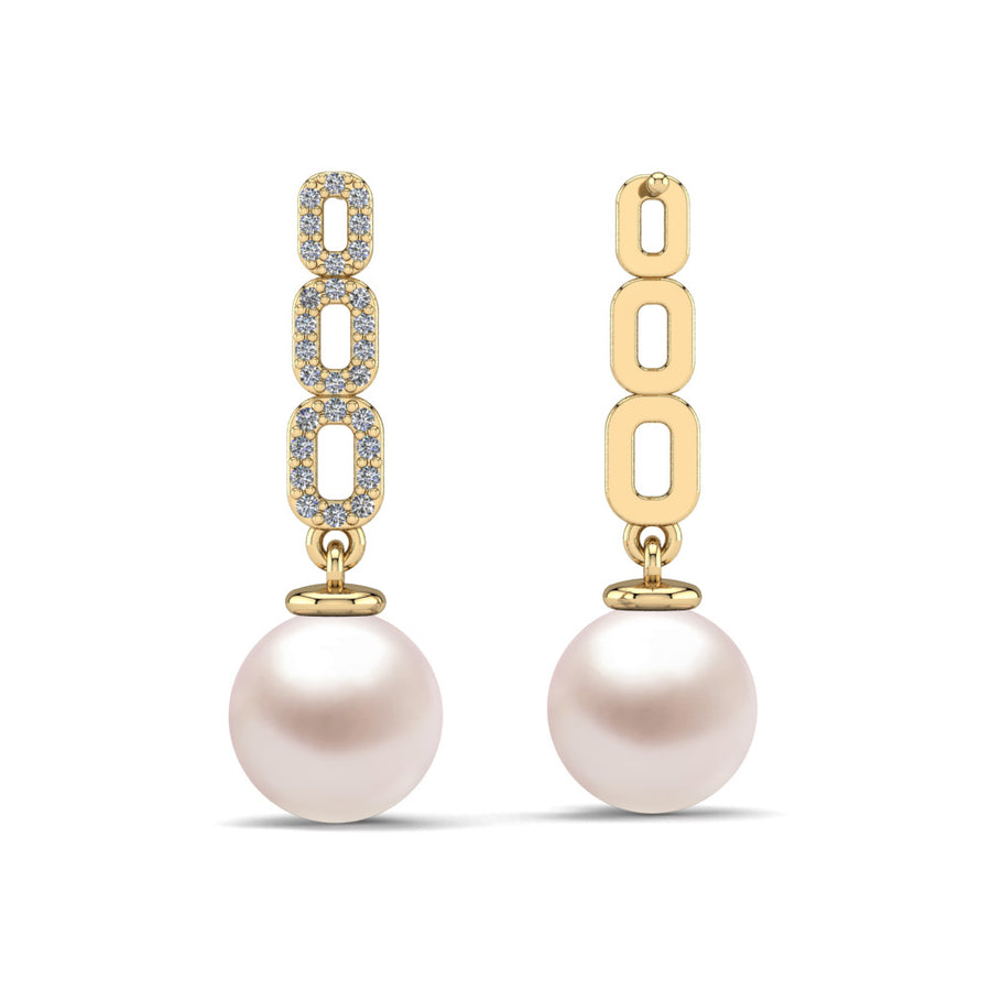 Link and Pearl Drop Earrings-18K Yellow Gold-South Sea-South Sea Rose