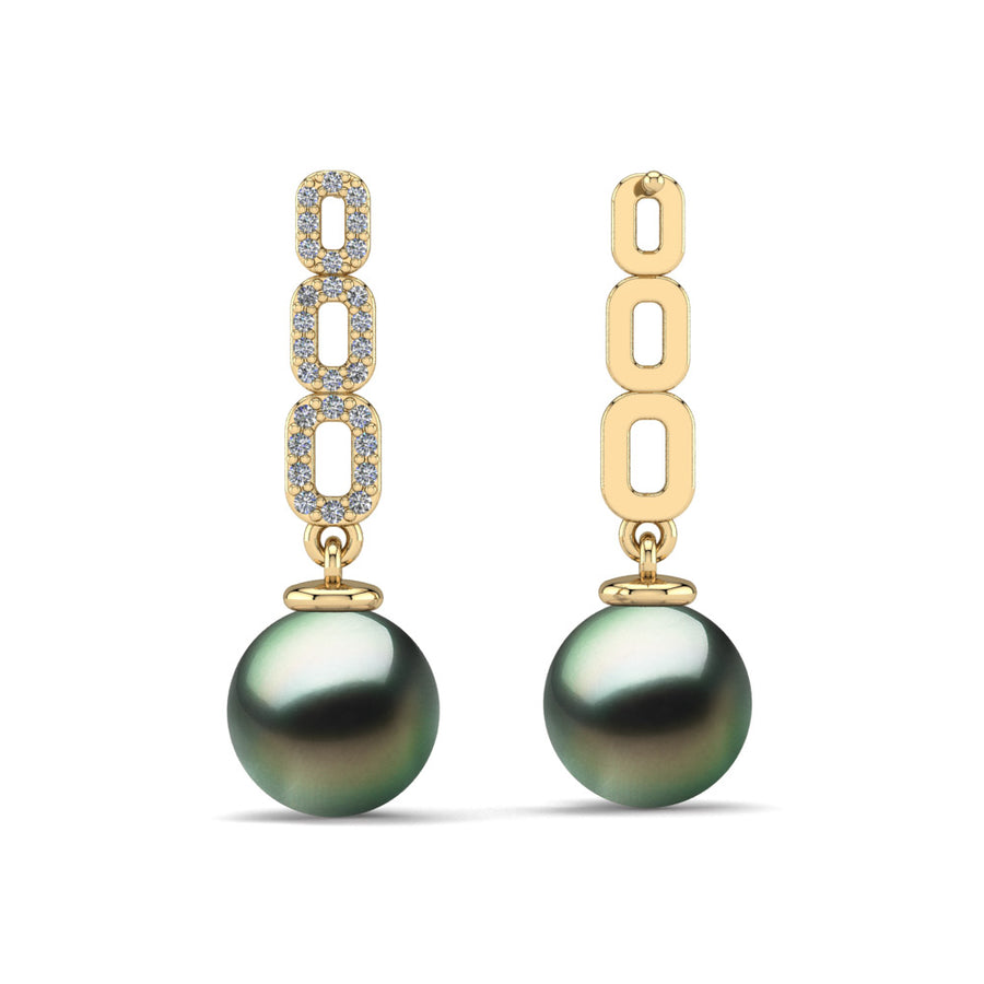 Link and Pearl Drop Earrings-18K Yellow Gold-Tahitian-Green