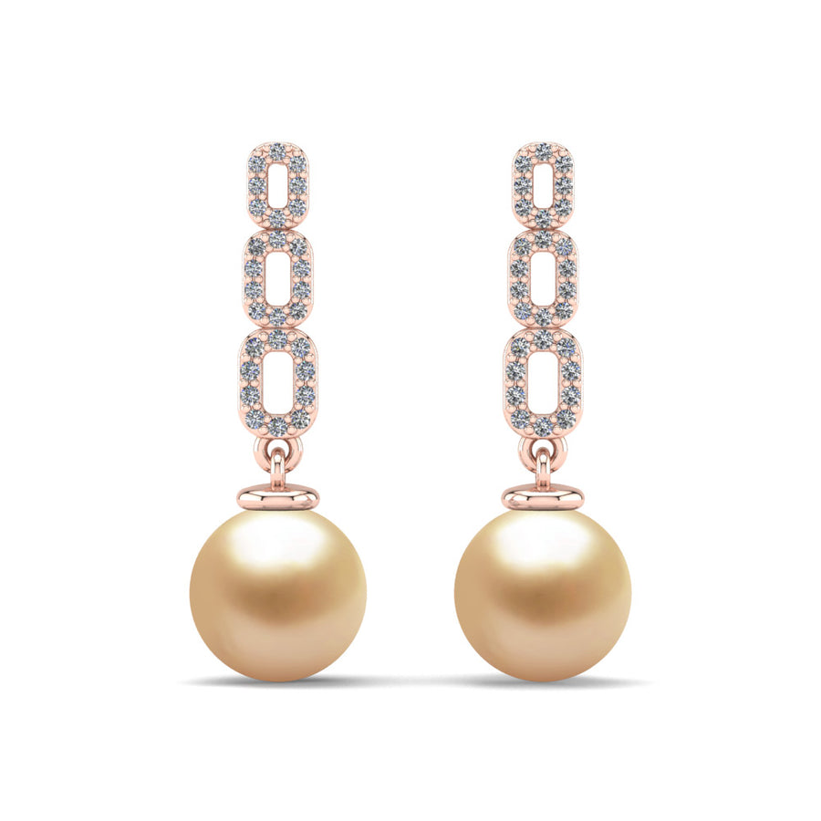 Link and Pearl Drop Earrings-18K Rose Gold-South Sea Golden-Golden