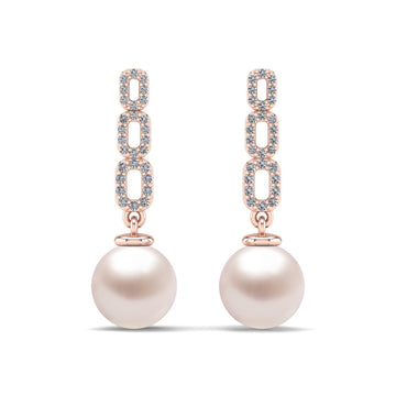 Link and Pearl Drop Earrings-18K Rose Gold-South Sea-South Sea Rose