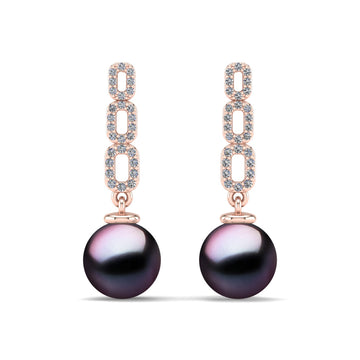 Link and Pearl Drop Earrings-18K Rose Gold-Tahitian-Aubergine