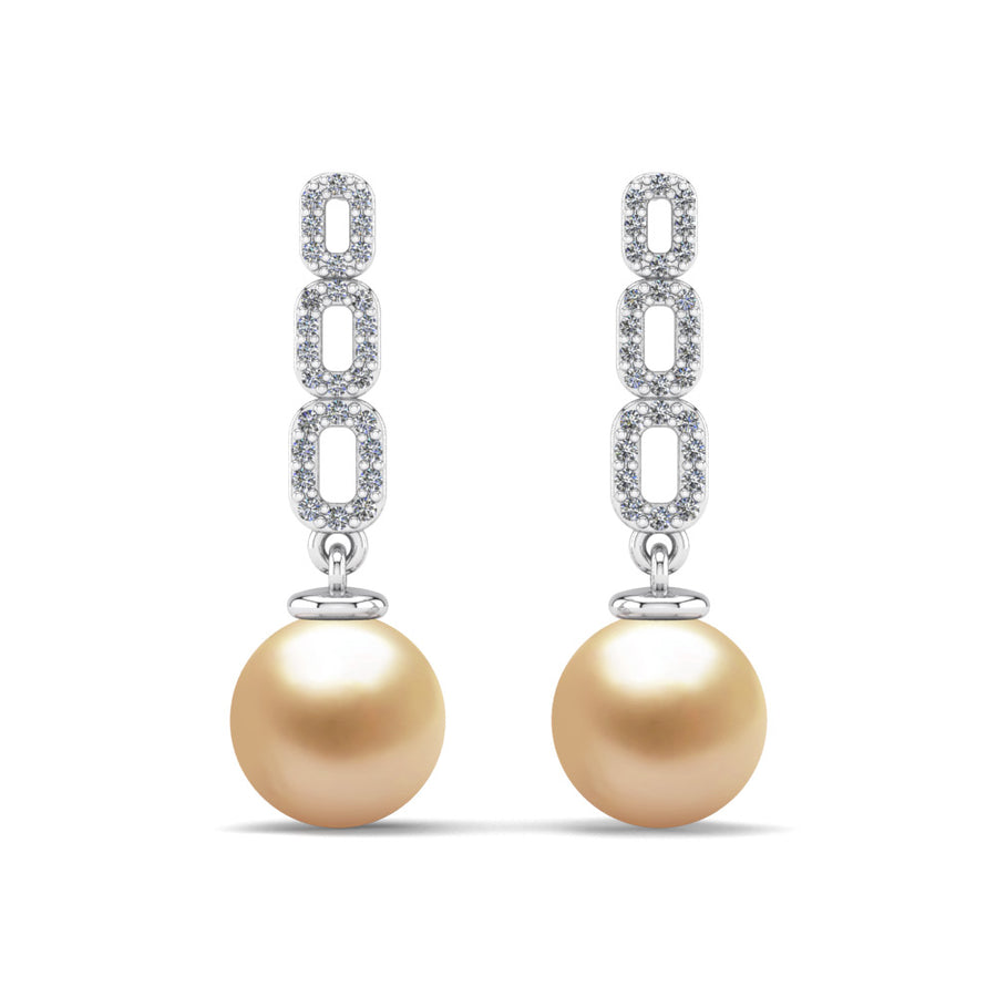 Link and Pearl Drop Earrings-Platinum-South Sea Golden-Golden