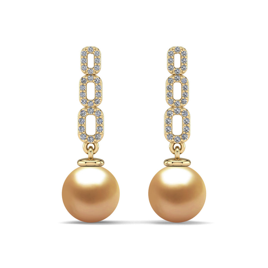 Link and Pearl Drop Earrings-18K Yellow Gold-South Sea Golden-Deep Golden