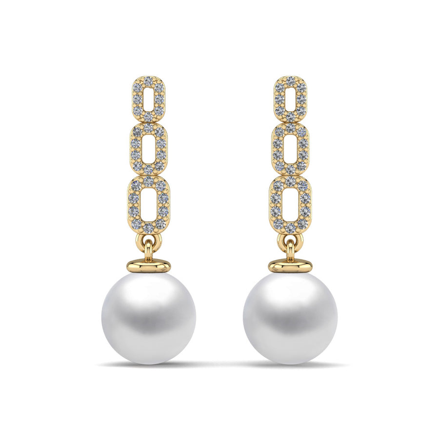 Link and Pearl Drop Earrings-18K Yellow Gold-South Sea-South Sea White