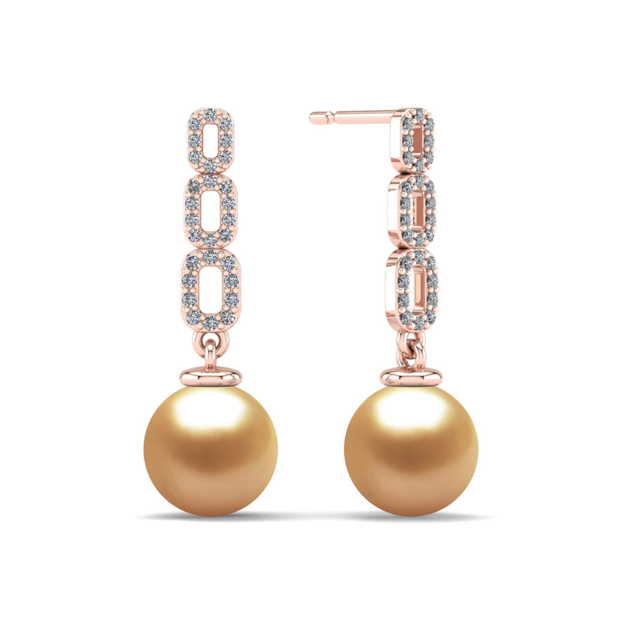 Link and Pearl Drop Earrings-18K Rose Gold-South Sea Golden-Deep Golden