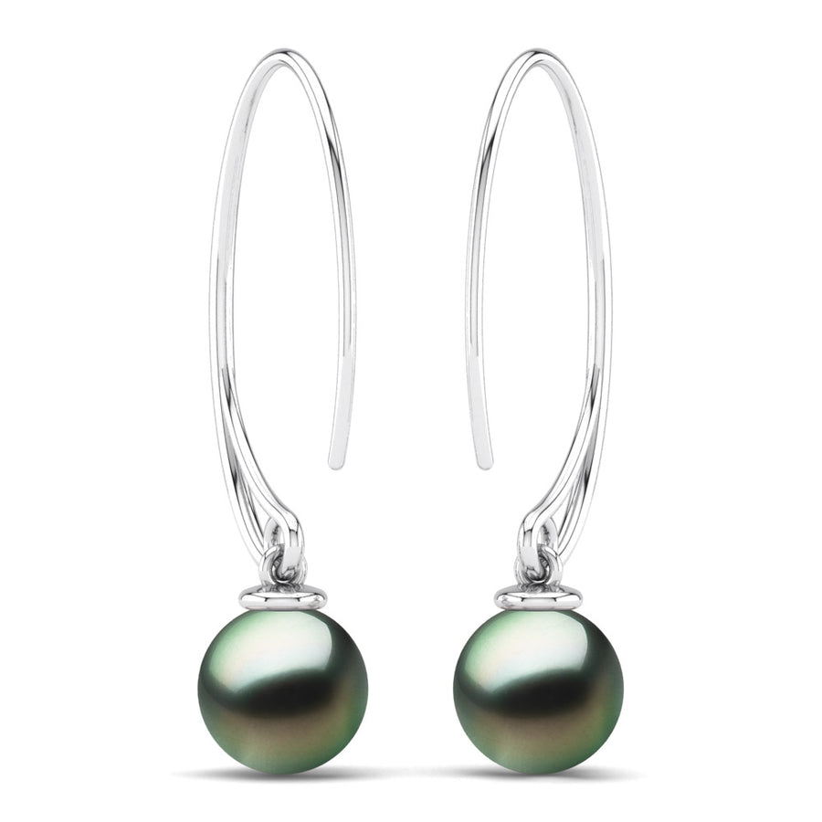 Extraordinary Oval Pearl Drops-Platinum-Tahitian-Green
