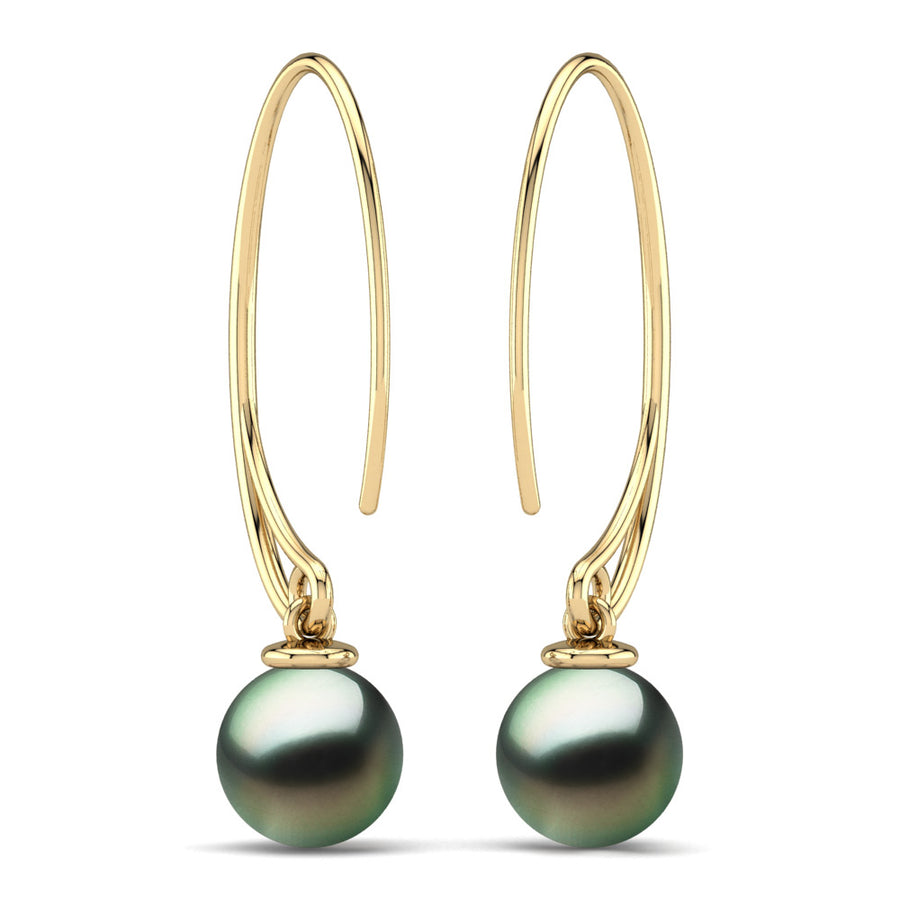 Extraordinary Oval Pearl Drops-18K Yellow Gold-Tahitian-Green