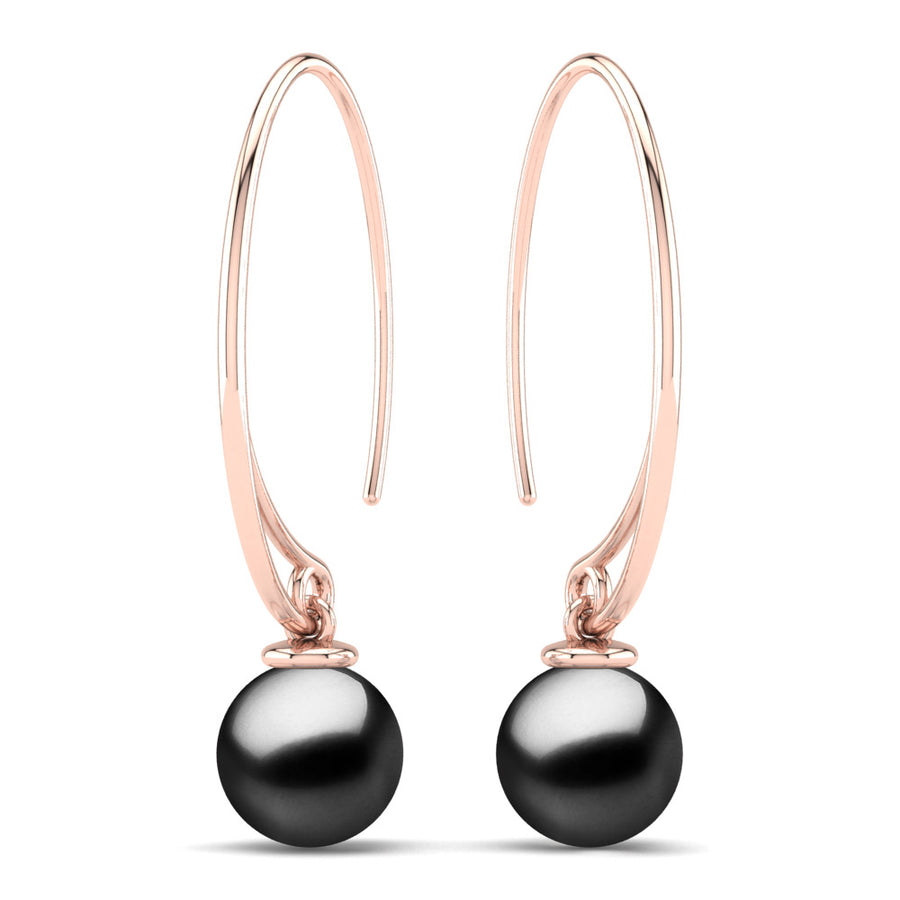 Extraordinary Oval Pearl Drops-18K Rose Gold-Tahitian-Black