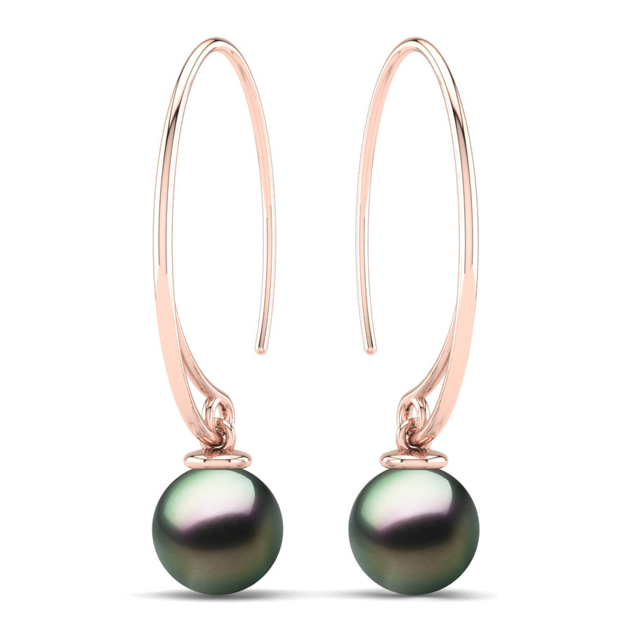 Extraordinary Oval Pearl Drops-18K Rose Gold-Tahitian-Peacock