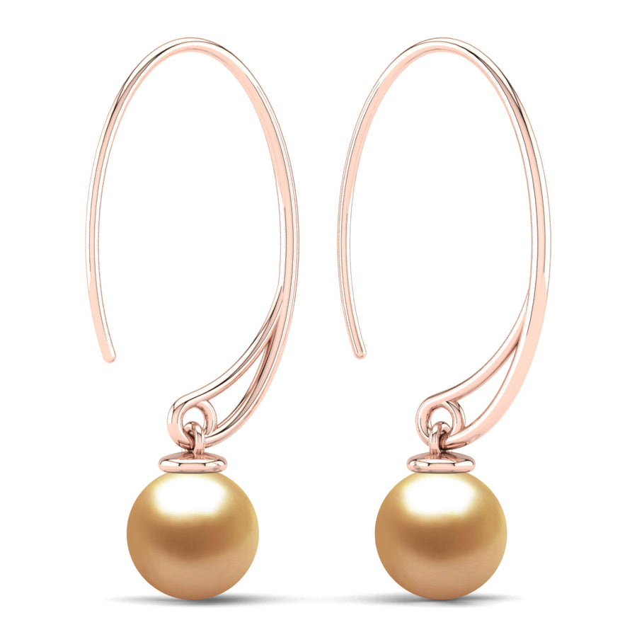 Extraordinary Oval Pearl Drops-18K Rose Gold-South Sea Golden-Deep Golden