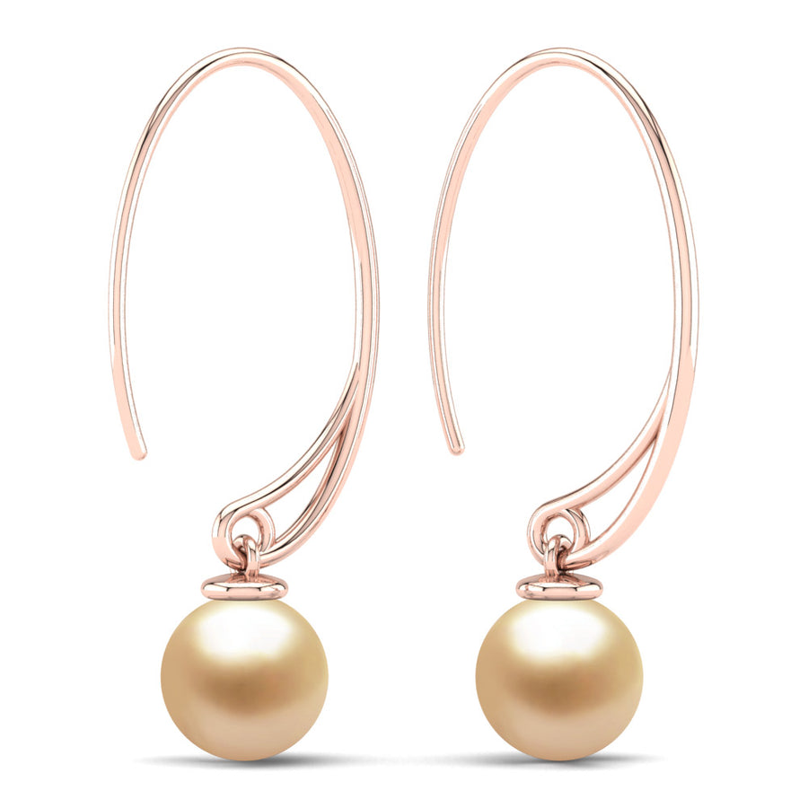 Extraordinary Oval Pearl Drops-18K Rose Gold-South Sea Golden-Golden