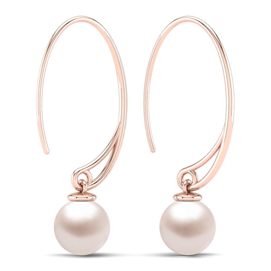 Extraordinary Oval Pearl Drops-18K Rose Gold-South Sea-South Sea Rose