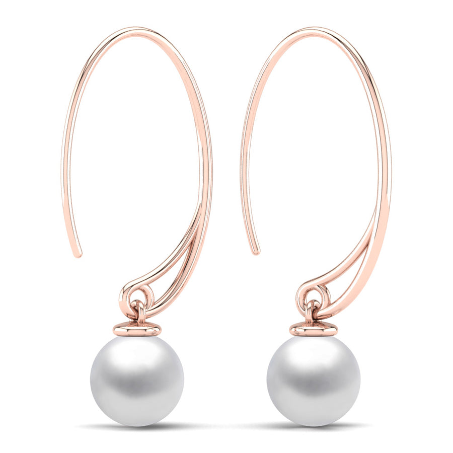 Extraordinary Oval Pearl Drops-18K Rose Gold-South Sea-South Sea White
