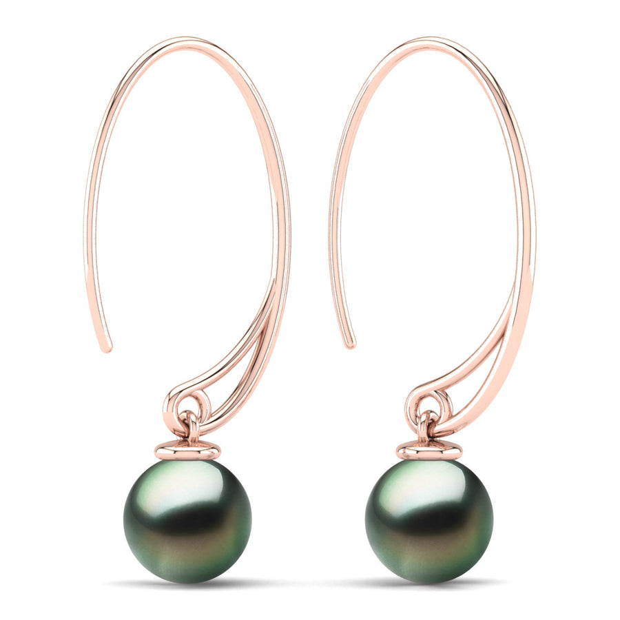 Extraordinary Oval Pearl Drops-18K Rose Gold-Tahitian-Green