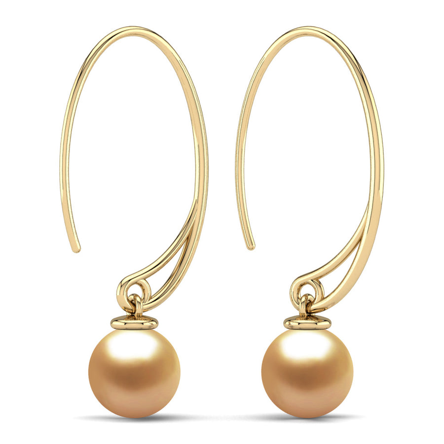 Extraordinary Oval Pearl Drops-18K Yellow Gold-South Sea Golden-Deep Golden