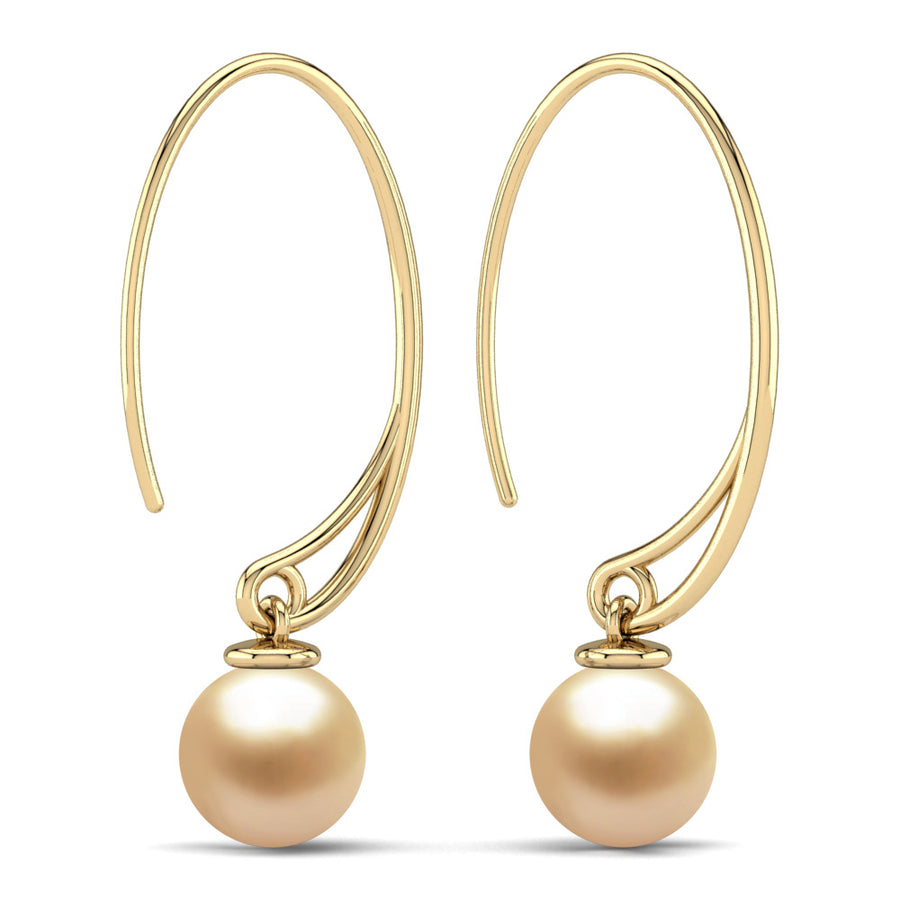 Extraordinary Oval Pearl Drops-18K Yellow Gold-South Sea Golden-Golden