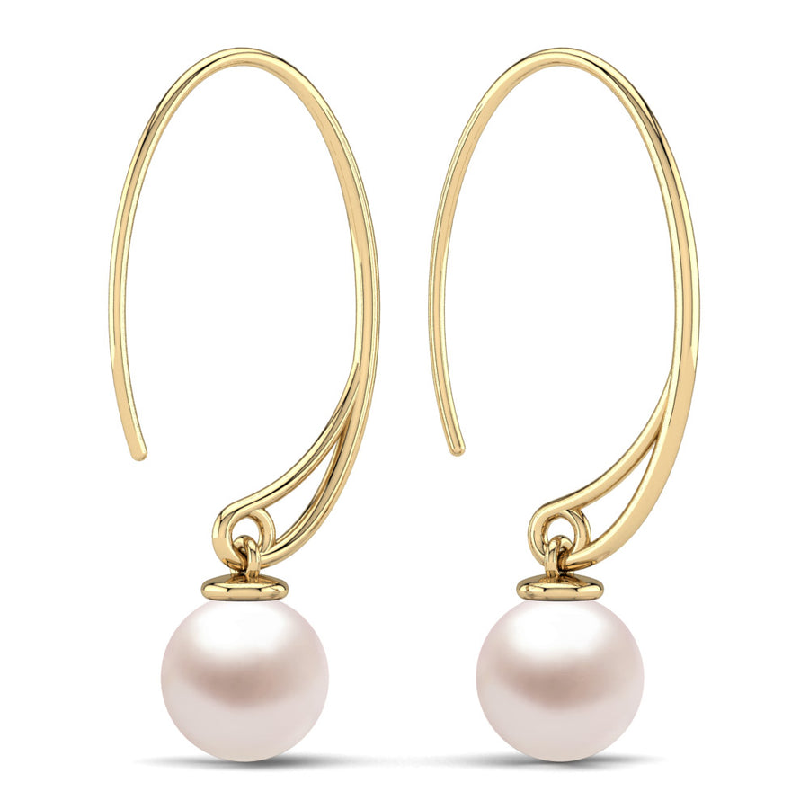 Extraordinary Oval Pearl Drops-18K Yellow Gold-South Sea-South Sea Rose