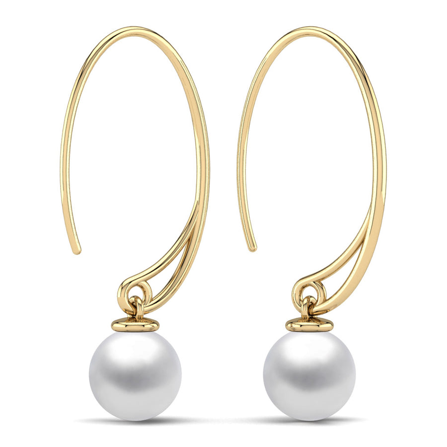 Extraordinary Oval Pearl Drops-18K Yellow Gold-South Sea-South Sea White