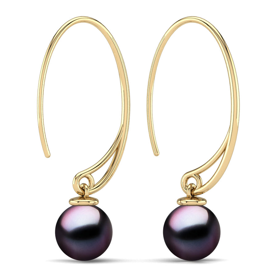 Extraordinary Oval Pearl Drops-18K Yellow Gold-Tahitian-Aubergine
