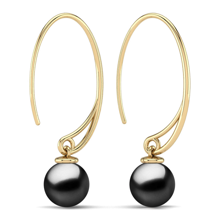 Extraordinary Oval Pearl Drops-18K Yellow Gold-Tahitian-Black