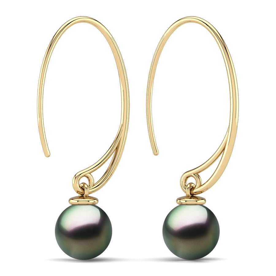 Extraordinary Oval Pearl Drops-18K Yellow Gold-Tahitian-Peacock