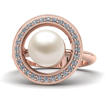 Celestial Pearl Ring-18K Rose Gold-Akoya-White Akoya