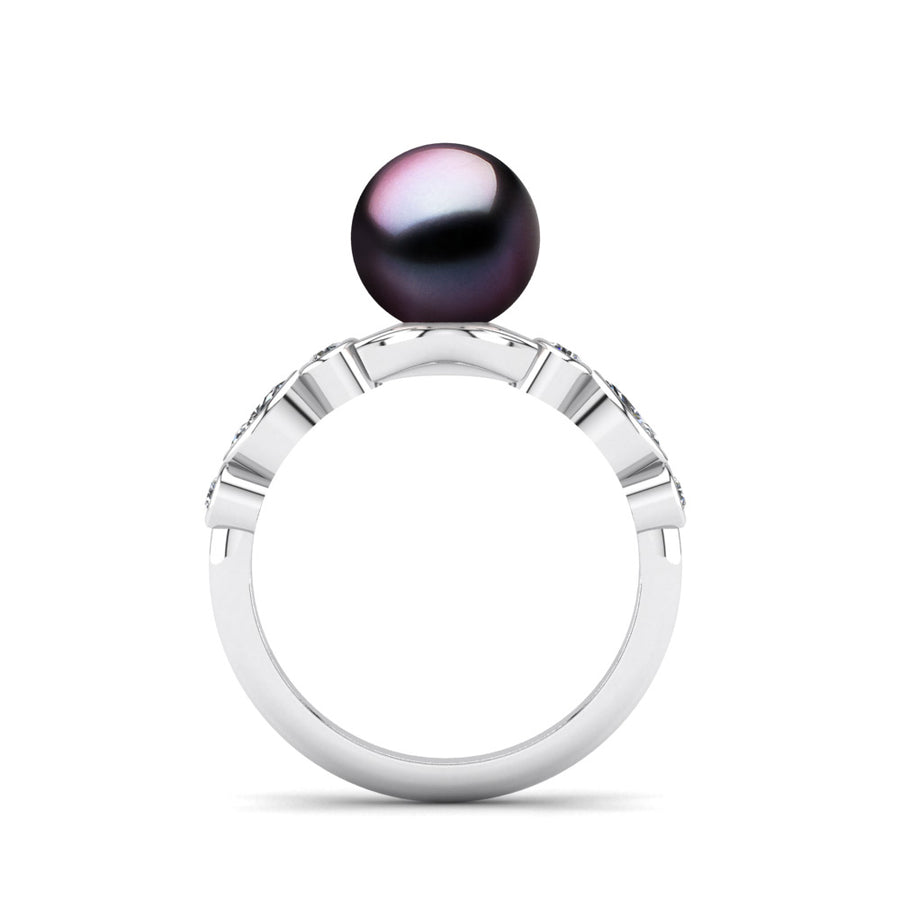 Fire and Ice Pearl Ring-Platinum-Tahitian-Aubergine