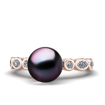 Fire and Ice Pearl Ring-18K Rose Gold-Tahitian-Aubergine