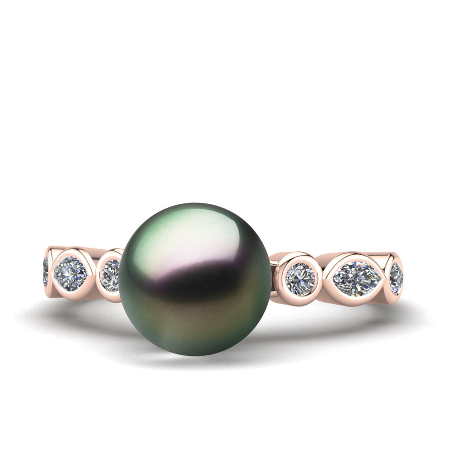 Fire and Ice Pearl Ring-18K Rose Gold-Tahitian-Peacock
