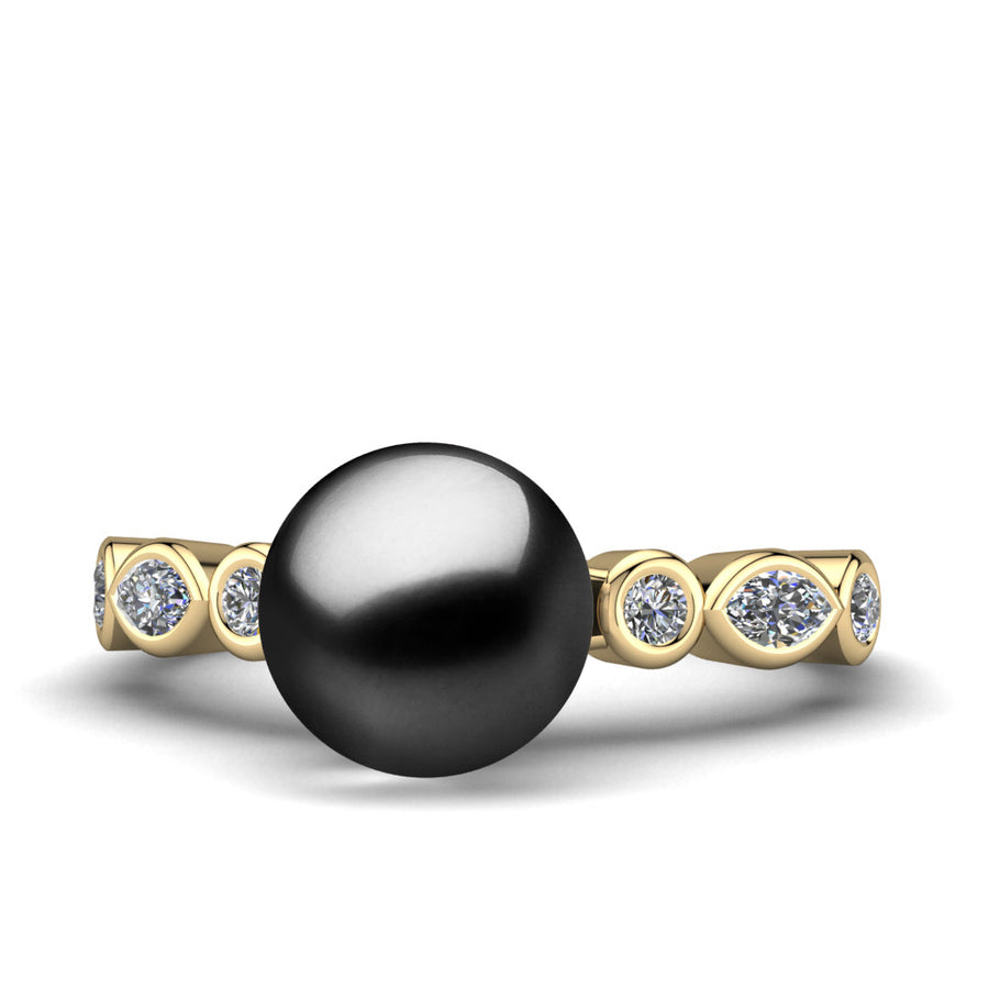 Fire and Ice Pearl Ring-18K Yellow Gold-Tahitian-Black