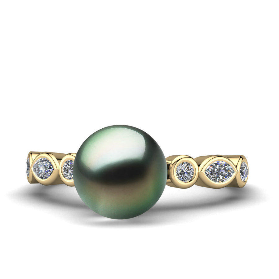 Fire and Ice Pearl Ring-18K Yellow Gold-Tahitian-Green