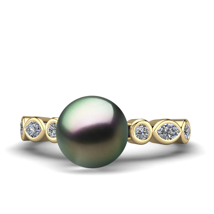 Fire and Ice Pearl Ring-18K Yellow Gold-Tahitian-Peacock