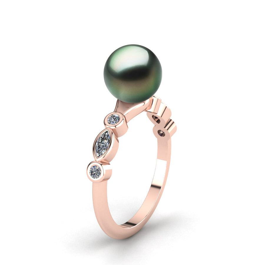 Fire and Ice Pearl Ring-18K Rose Gold-Tahitian-Green
