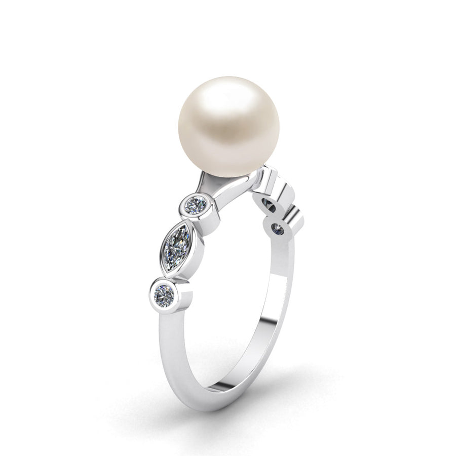 Fire and Ice Pearl Ring-Platinum-Akoya-White Akoya