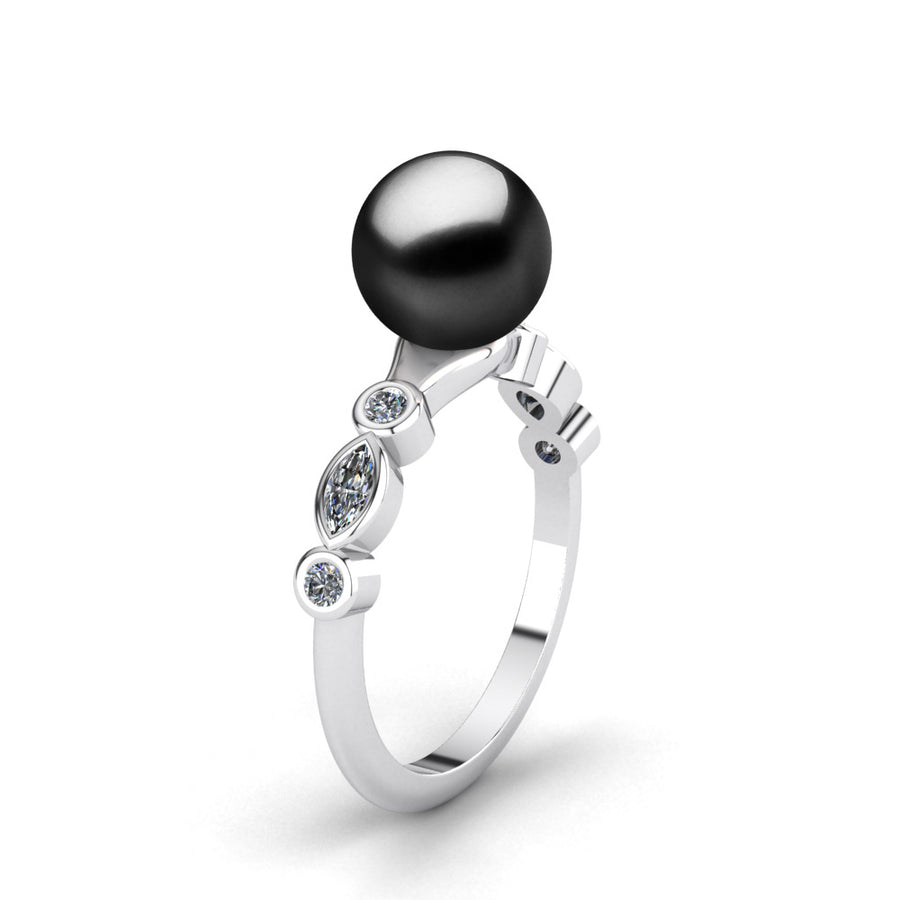 Fire and Ice Pearl Ring-Platinum-Tahitian-Black