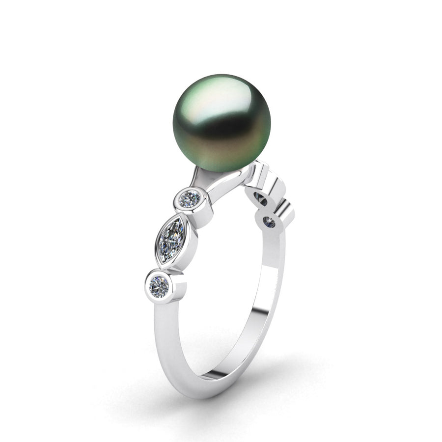 Fire and Ice Pearl Ring-Platinum-Tahitian-Green