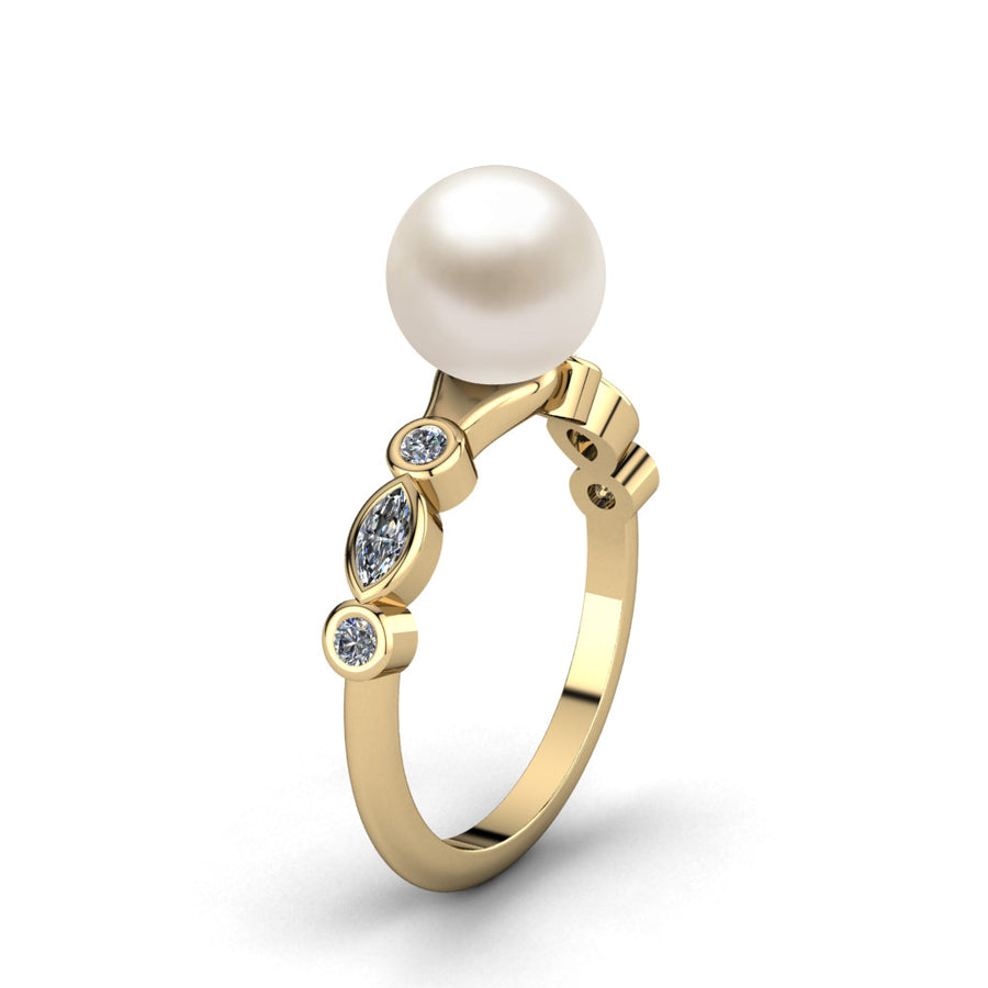 Fire and Ice Pearl Ring-18K Yellow Gold-Akoya-White Akoya