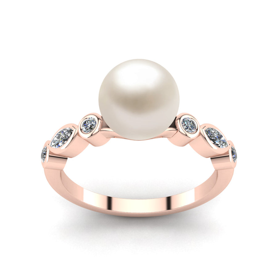 Fire and Ice Pearl Ring-18K Rose Gold-Akoya-White Akoya