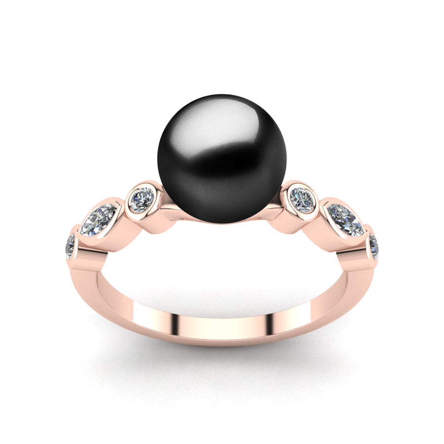 Fire and Ice Pearl Ring-18K Rose Gold-Tahitian-Black