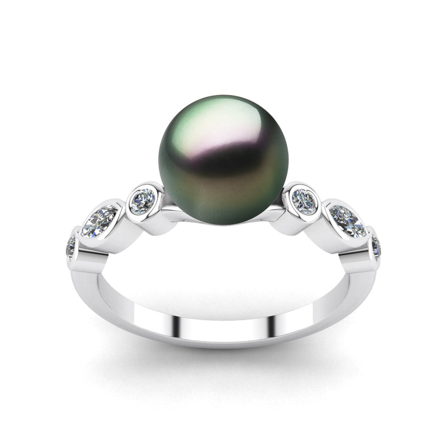 Fire and Ice Pearl Ring-Platinum-Tahitian-Peacock