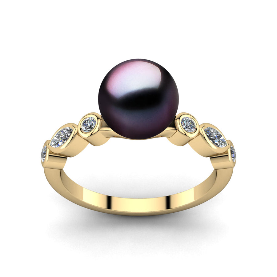 Fire and Ice Pearl Ring-18K Yellow Gold-Tahitian-Aubergine