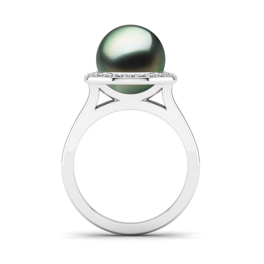 Diamond Halo Pearl Ring